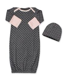 Kadambaby Full Sleeves Night Gown & Cap Heart Print - Grey