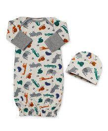 Kadambaby Full Sleeves Night Gown & Cap Animal Print - Grey