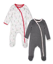 Kadambaby Full Sleeves Printed Sleep Suit Pack of 2 - White Grey