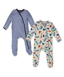 Kadambaby Full Sleeves Printed Sleep Suit Pack of 2 - Blue White