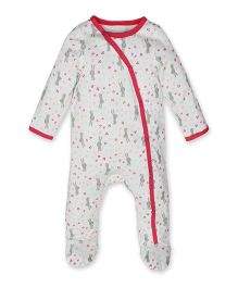Kadambaby Full Sleeves Sleep Suit Bunny Print - White