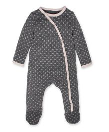 Kadambaby Full Sleeves Sleep Suit Heart Print - Grey