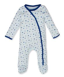 Kadambaby Full Sleeves Sleep Suit Star Print - White