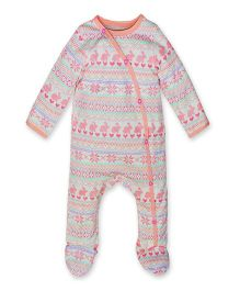 Kadambaby Full Sleeves Sleep Suit Multi Print - Peach