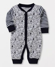 Wonderchild Elephant Print Romper - White & Navy