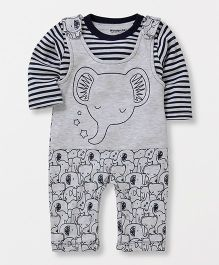 Wonderchild Knitted Dungaree With Tee - Grey & Navy