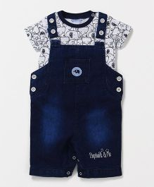 Wonderchild Dungaree With T-Shirt - Blue