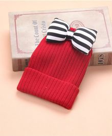 Flaunt Chic Big Zebra Bow Winter Woolen Cap - Red