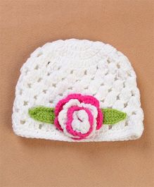 Flaunt Chic Big Flower Winter Woolen Caps - White