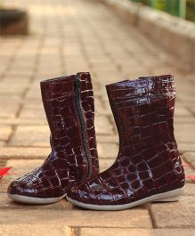D'chica High On Style Faux Leather Boots - Maroon