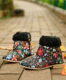 D'chica Printed Chic Ankle Boots - Multicolor