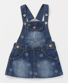 Happiness Dungaree Dress With Pockets - Blue