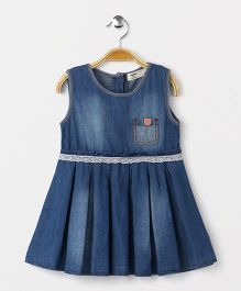 Happiness Crew Neck Denim Dress - Blue