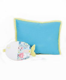 HouseThis The Glowy Fishes Pure Cotton Pillow & Cushion - Blue