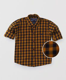 Jash Kids Full Sleeves Checks Shirt - Mustard Yellow
