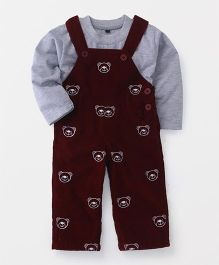 Jash Kids Dungaree With T-Shirt Bear Design - Maroon