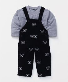 Jash Kids Dungaree With T-Shirt Bear Design - Dark Navy Blue