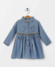 OB Baoney Denim Dress With Front Pockets - Blue