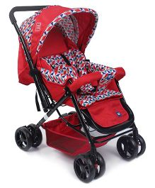 Mee Mee Pram With Soft Cushioned Seat Full Leg Cover & Canopy - Red
