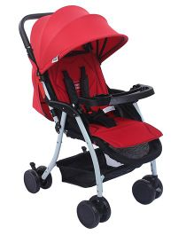 Mee Mee Pram With Canopy And Food Tray - Red