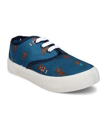Myau Slip On Style Sneakers Bear Design - Blue