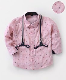 Robo Fry Full Sleeves Shirt With Suspenders - Pink