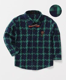 Robo Fry Full Sleeves Party Wear Shirt Checks Print - Blue Green