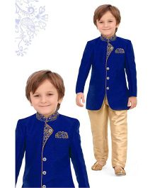 Ethnik's Neu Ron Full Sleeves Sherwani & Pant Set - Blue & Beige
