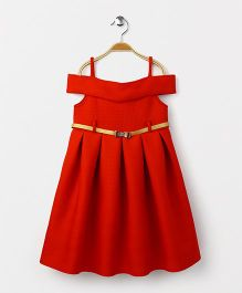 Yellow Duck Singlet Off Shoulder Party Wear Frock With Belt - Red