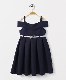 Yellow Duck Singlet Off Shoulder Party Wear Frock With Belt - Navy