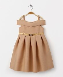 Yellow Duck Singlet Off Shoulder Party Wear Frock With Belt - Beige