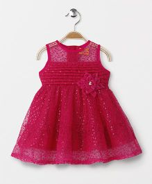Yellow Duck Sleeveless Party Wear Frock Flower Motif & Sequence Design - Dark Pink