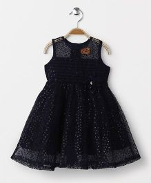 Yellow Duck Sleeveless Party Wear Frock Flower Motif & Sequence Design - Dark Navy