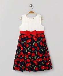 Yellow Duck Sleeveless Party Wear Frock Fruits Print - Navy Off White