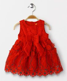 Yellow Duck Sleeveless Party Wear Frock Bow Applique - Red