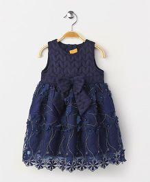 Yellow Duck Sleeveless Party Wear Frock Bow Applique - Navy
