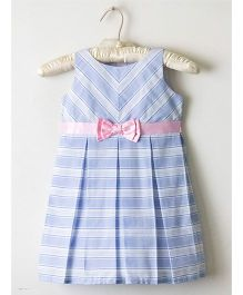 Nitallys Striped Box Pleated Dress - Blue