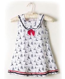 Nitallys Boat Print Sailor Dress - White