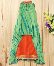 Twisha Shibori Gown With Embroidery On Neck - Green