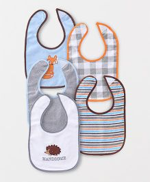 Luvable Friends Multi-Printed Set Of 5 Bibs - Pink & Multicolour