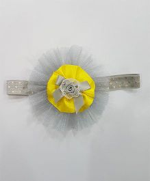Blingozz Handicrafts Ruffle Flower Soft Head Band - Grey And Yellow