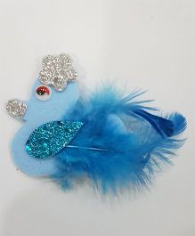 Blingozz Handicrafts Glittery Duck With Feathers Clip - Blue