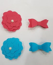 Blingozz Handicrafts Felt Flower Combo Clip - Pink & Blue