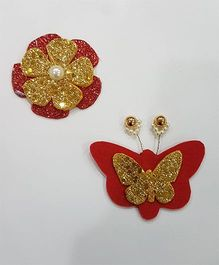 Blingozz Handicrafts Butterfly And Flower Combo Clip - Red & Golden
