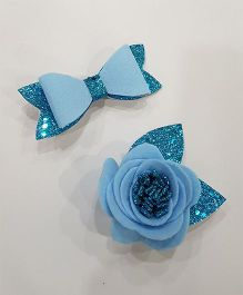 Blingozz Handicrafts Glittery Flower Bow Combo Clip - Blue