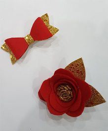 Blingozz Handicrafts Glittery Flower Bow Combo Clip - Red & Golden