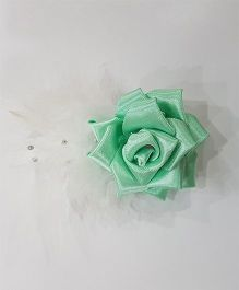 Blingozz Handicrafts Satin Rose With Feathers Clip - Mint