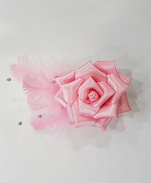 Blingozz Handicrafts Satin Rose With Feathers Clip - Pink