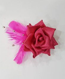 Blingozz Handicrafts Satin Rose With Feathers Clip - Magenta