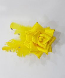 Blingozz Handicrafts Satin Rose With Feathers Clip - Yellow